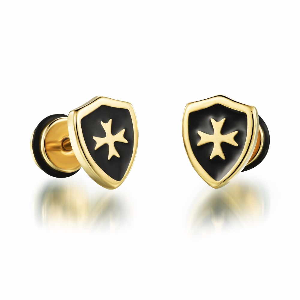 Anium Steel Stud Plating Gold Shield Cross Earrings Por Punk Style Men Good Gifts In From Jewelry Accessories On Aliexpress