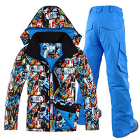 2019 Gsou Snow Men Ski Jacket+Pant Windproof Waterproof Outdoor Sport Wear Super Warm Skiing Snowboard Camping Suit Set Clothing