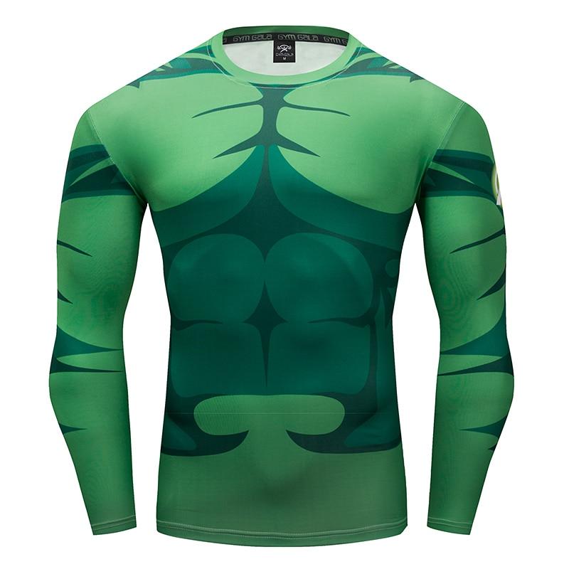 Gyms men's fitness T-shirt 3D Superhero Warrior Hulk/Avenger men's T-shirt Compression Shirt work out Bodybuilding Slim T-shirt
