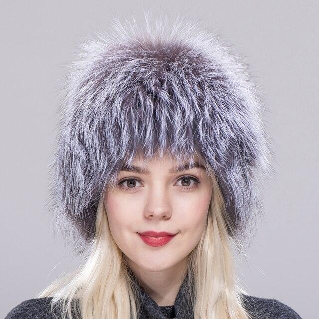 ZDFURS   Gran venta 100% Natural de piel de zorro de plata sombrero de  Invierno para mujer gorro de punto de piel de zorro d19c2b0193f