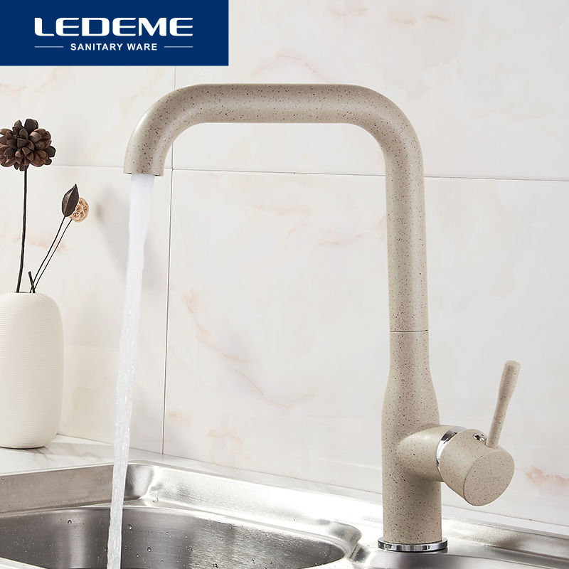 LEDEME Khaki Kitchen Faucet Brass Finish Deck Mounted Kitchen Faucets Torneira Handle Swivel Sink Faucets Mixers
