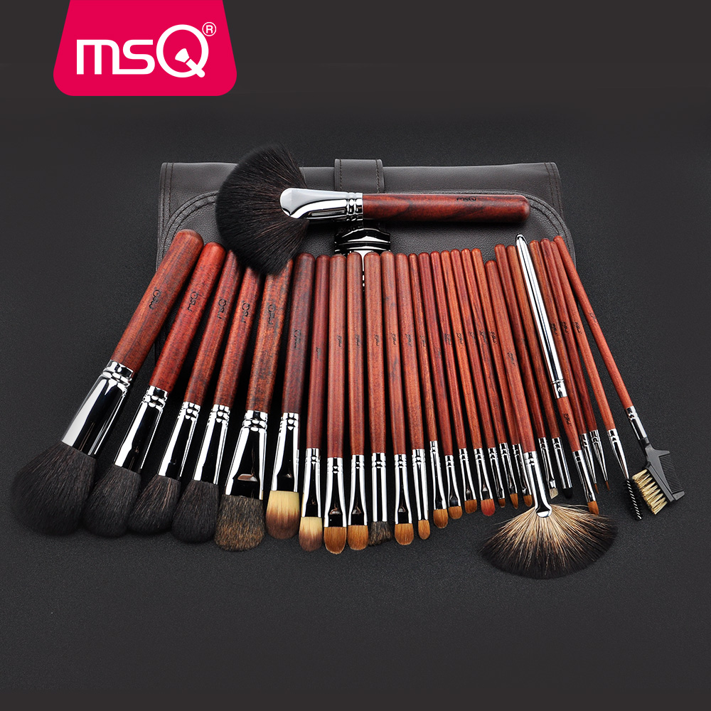 MSQ Pro 28pcs Makeup Brushes Set Powder Foundation Eye Shadow Makeup Brush Lip Blusher Cosmetics Tool High Quality Natural Hair beili red 28pcs professional makeup brushes set natural hair powder foundation blusher eyeshadow eyebrow liner makeup brush tool