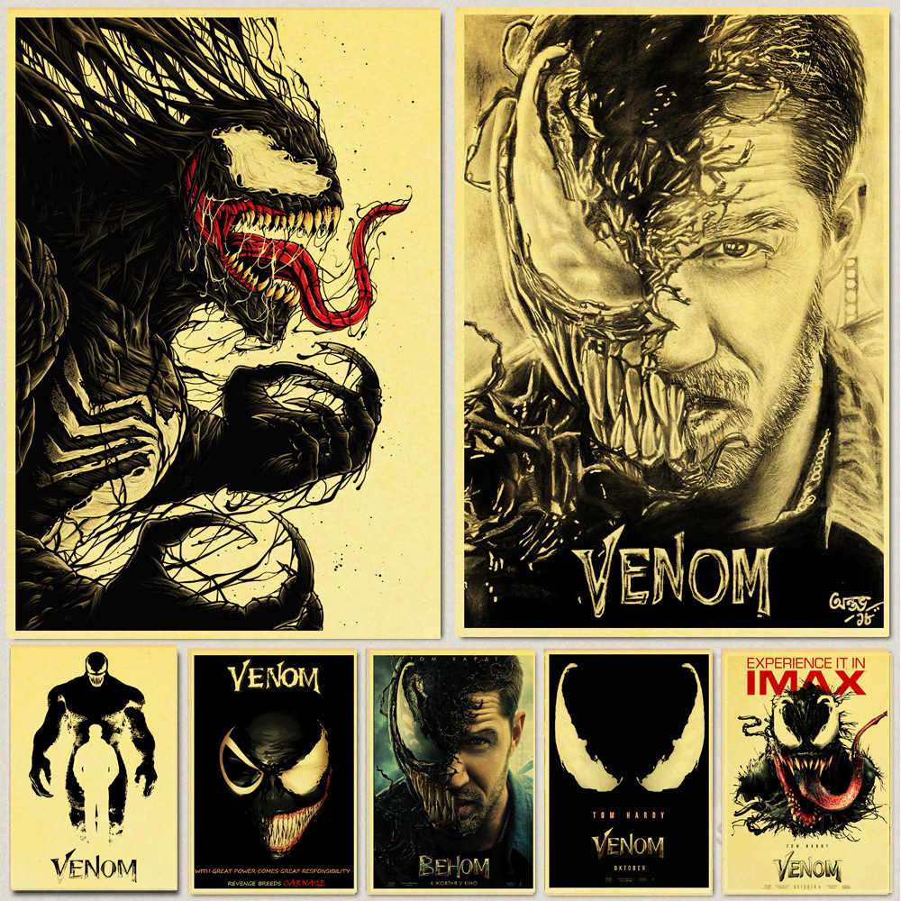 Vintage Comic Venom Hero Poster Tom Hardy Marvel Retro Posters Printed Room Decor Wall Painting Wall sticker Home Art image