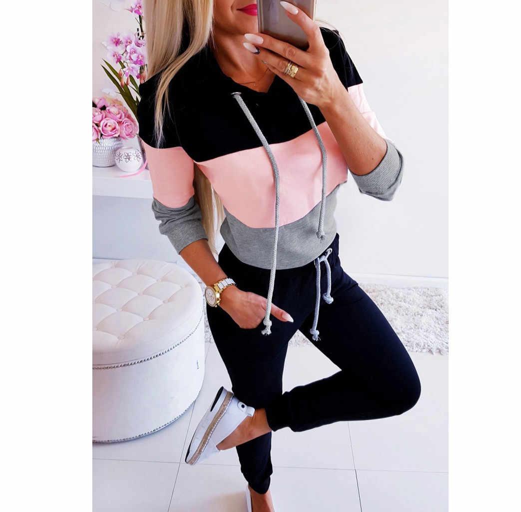 Muqgew Kpop Kemeja Wanita Lengan Panjang Sweatshirt Blok Warna Pullover Streetwear Atasan Tee Moletom Feminino Inverno Толстовка