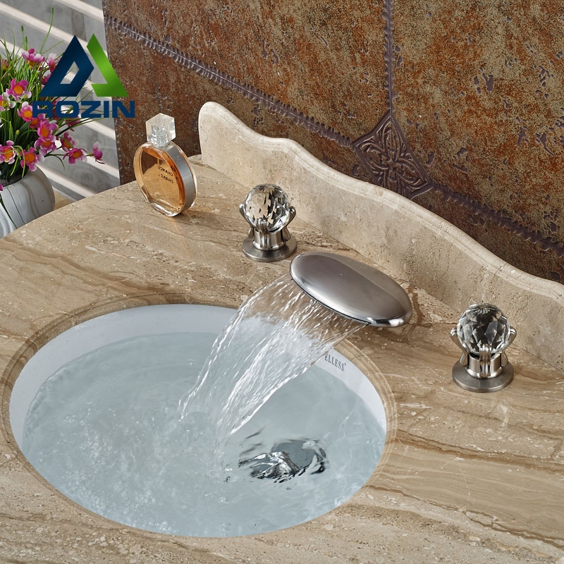 Luxury Dual Handle Three Holes Waterfall Basin Sink Mixer Taps Deck Mount Widespread Bathroom Vanity Faucet