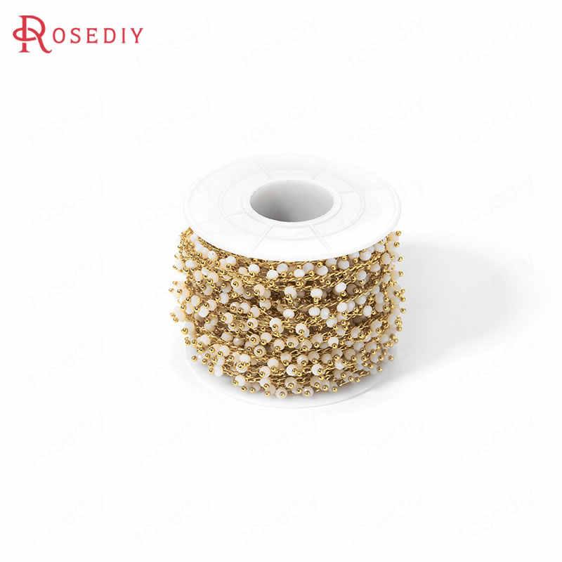 50CM szerokość 6MM 24K złoty kolor mosiądz i szkło z naszyjnik z koralików łańcuchy wysokiej jakości Diy ocena biżuteria akcesoria