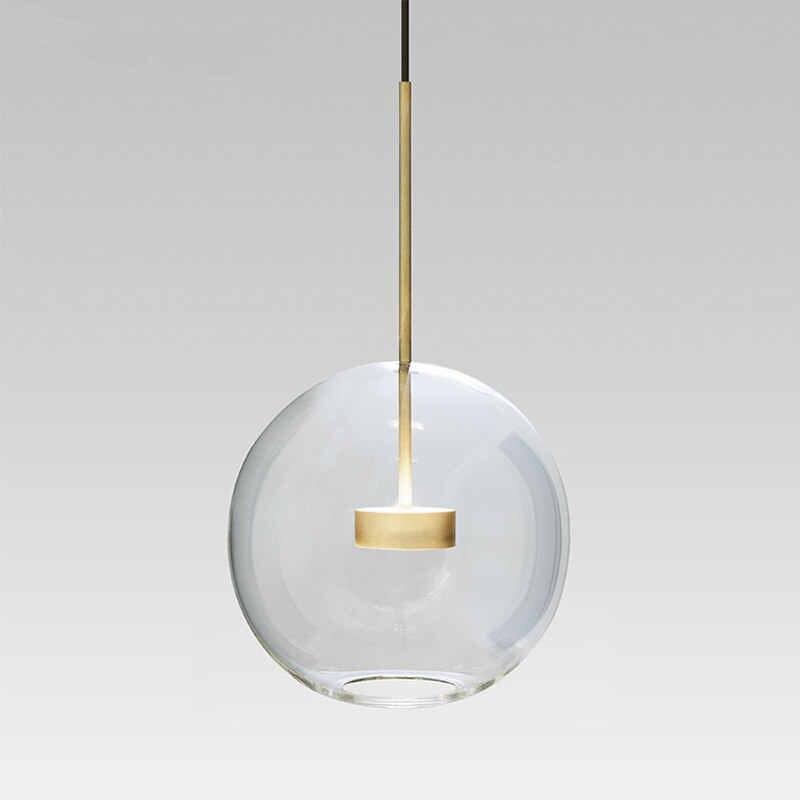 KINLAMS Post Современный Креативный прозрачный стеклянный шар светодиодный подвесной светильник для столовой гостиной бар светодиодный стеклянный подвесной светильник