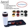 Apexel teléfono kit 12x lente zoom telefoto lente ojo de pez y gran angular y macro de lentes con el teléfono negro caso para iphone 6 apl-12x85
