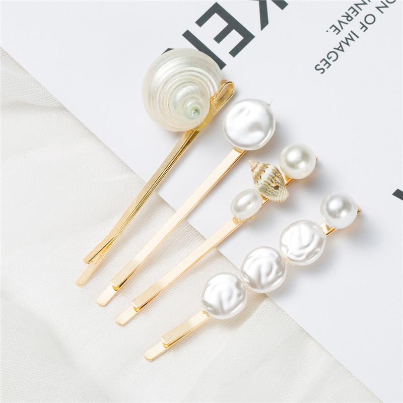 1SET New Ocean Metal Gold Shell Screw Conch Pearl Hair Pins Hair Clips For Women Hairpin Beach Hair Accessories in Hair Clips Pins from Beauty Health