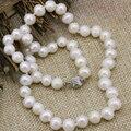 8-9mm blanca cultivada de agua dulce natural perla de los granos mujeres declaración de moda collar de cadena de clavícula joyería choker 18 pulgadas b3232
