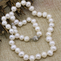 8-9mm natural white freshwater cultured pearl beads chain necklace fashion statement women clavicle choker jewelry 18inch B3232