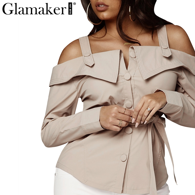 Glamaker Off shoulder long sleeve   blouse     shirt   Women sexy bow tie up belt bodycon   shirt   Spring female elegant streetwear blusas