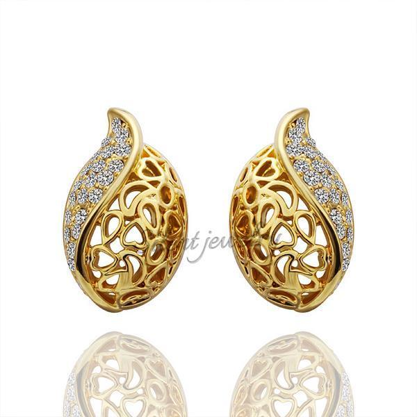 free shipping Hot Sale Fashion La s 18k Gold Hollow Stud Earring