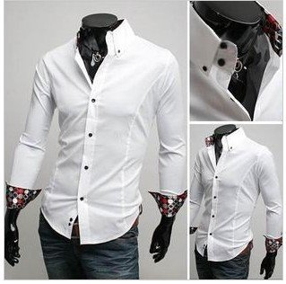 Free Shipping 2012 New Men Fashion Fitted Shirt With Brocade Patch Inner 3Colors M/L/XL/XXL Size CSB19