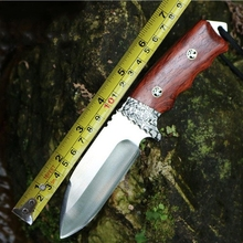 Straight Handmade forged Damascus Steel hunting knife fixed blade knife 59-60HRC ebony/steel handle free shipping
