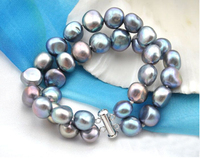Wedding Woman 2 Strands Black Gray Pearl Baroque Bracelet Natural Freshwater Pearl Handmade Woman Jewelry
