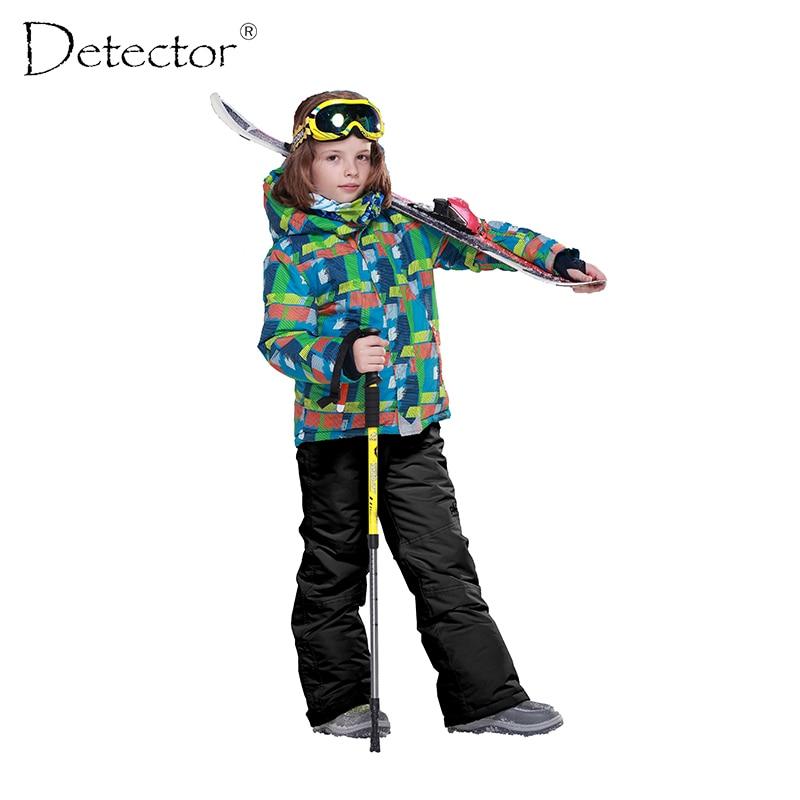 ФОТО Detector 2016 Boys Ski Set Outdoor Waterproof Windproof Suit Kids Winter Warm Snowboard Ski Jacket