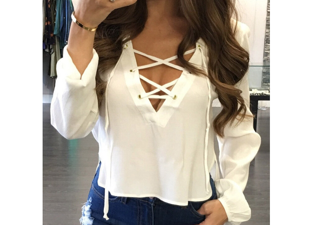2019 Autumn Fashion Womens Shirts Sexy Lace Up Bandage V-Neck Long Sleeve Solid Color Shirts Tops Loose Blouse Casual Shirt Tops