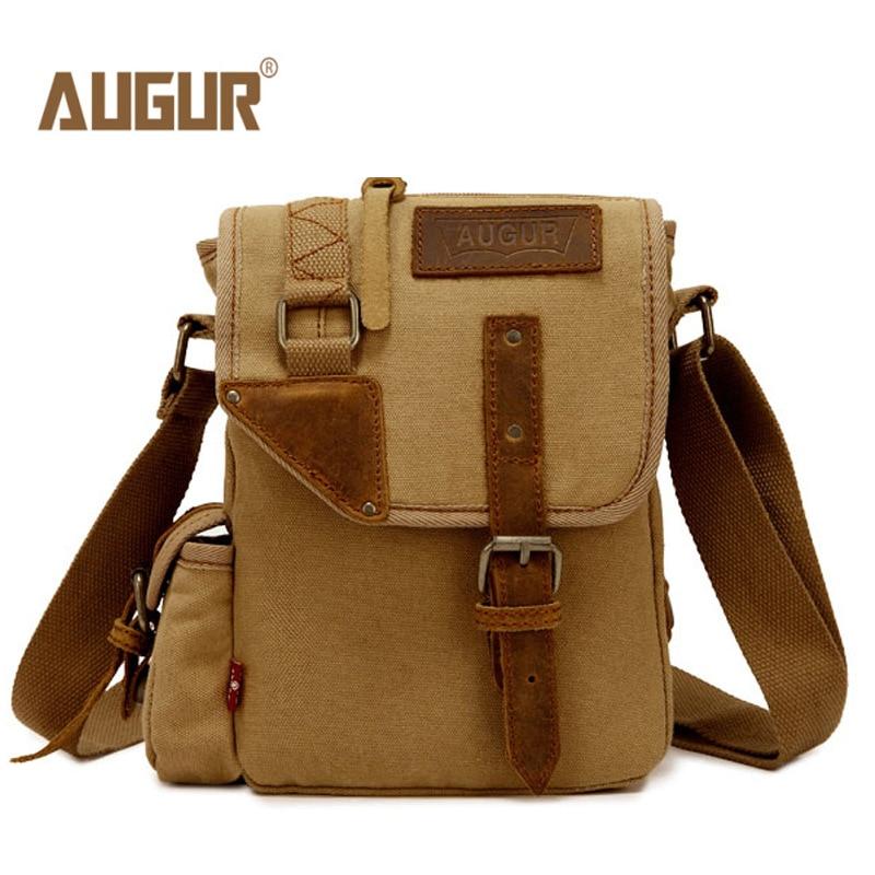 35eb0f25dc2 2016 Canvas Leather Crossbody Bag Men Military Army Vintage Messenger Bags  Large Shoulder Bag Casual Travel Bags augur 2