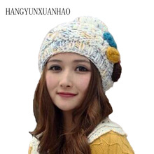 HANGYUNXUANHAO New Fall Women Winter Hat for Girl Knitted Beret With Rabbit Fur Pom Fashion Beanie Cap