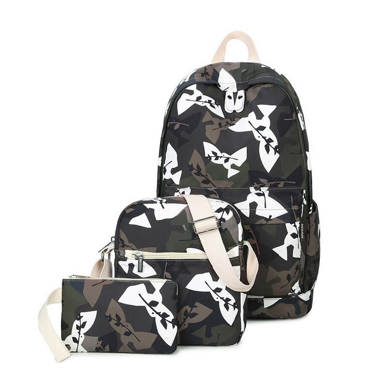 ФОТО New arrived casual travel backpack printing Student School Bags For Teenagers Girls boys canvas backpack 3 pcs /set Rucksack