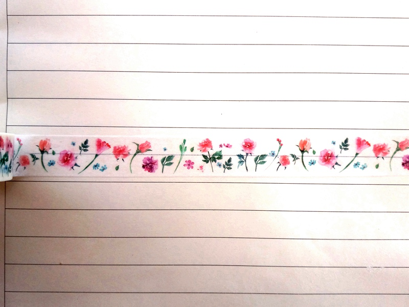 1pc DIY Japanese Paper Pink Flowers Washi Tape Paper Masking Tapes Adhesive Tapes Stickers Decorative Stationery Tape 1.5cm*10m