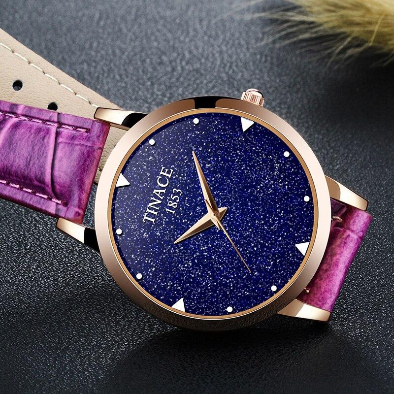 Nova marca de relógio de quartzo senhoras relógio de couro à prova d' água relógio de forma mulher romântica relógio Montre Femme Relogio Faminino - 5