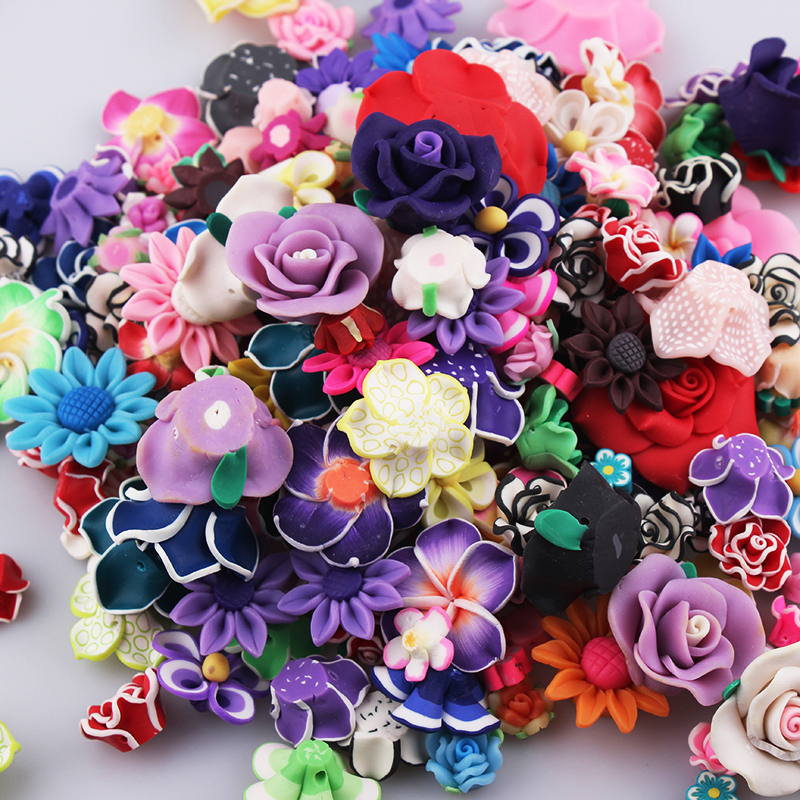 Wholesale 30PCS Mix Color Mix Size  Flat Back Polymer Clay Fimo  Flowers Fit DIY Hair Supplies