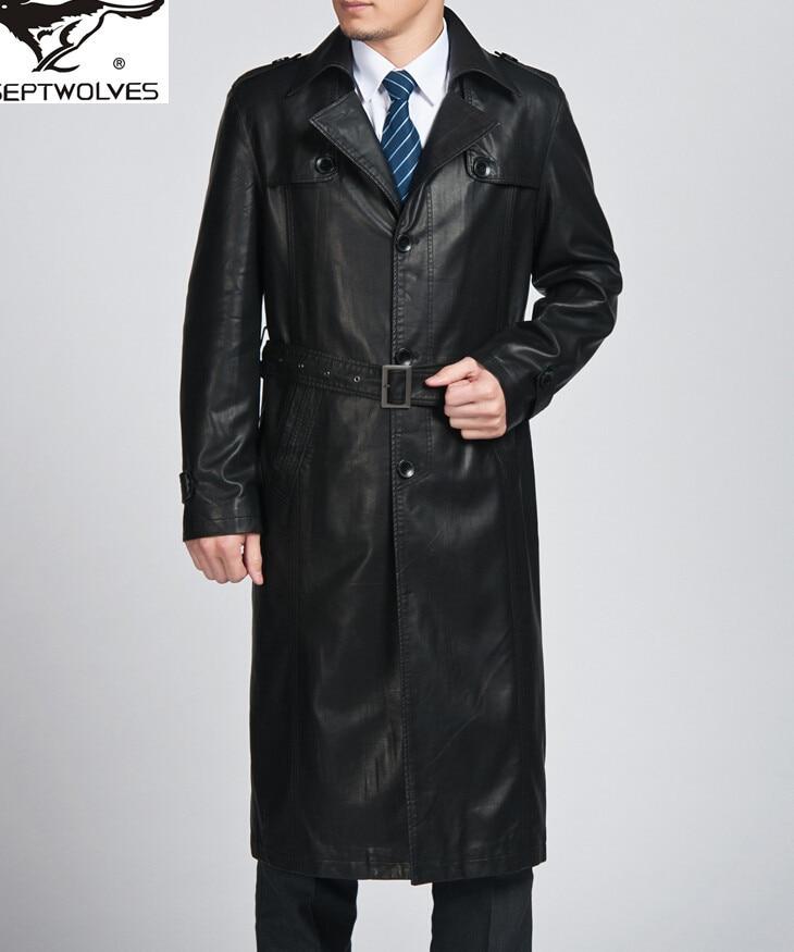 classic brand genuine leather jacket men trench coat long man sheepskin pea parka male outwear. Black Bedroom Furniture Sets. Home Design Ideas