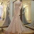 2017 Sexy Sirena de Tulle Flores Rebordear Vestidos Formales Larga de Dubai Kaftan Vestido de Noche Por Encargo Vestido de Noche AU6
