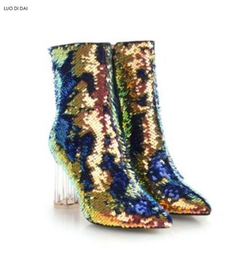 2019 new women sequin boots thigh high booties clear heel over knee high  boots ladies party 180b6d6de89f