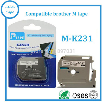 Free shipping 2 PK Brother M-K231 MK231 compatible P-touch 12mm black on white M tapes