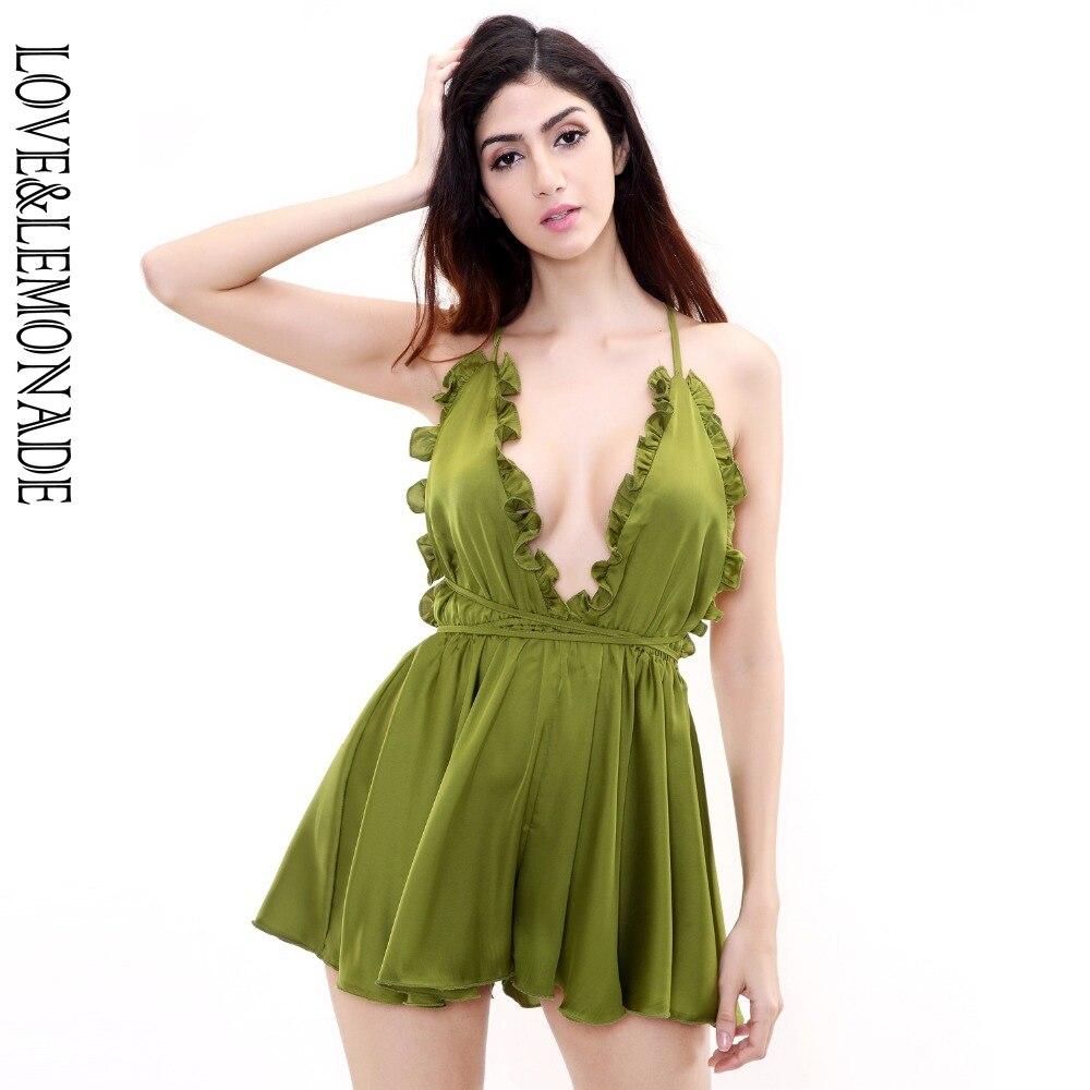 Love&Lemonade Green Ruffled V-Neck  Playsuits TB 9029