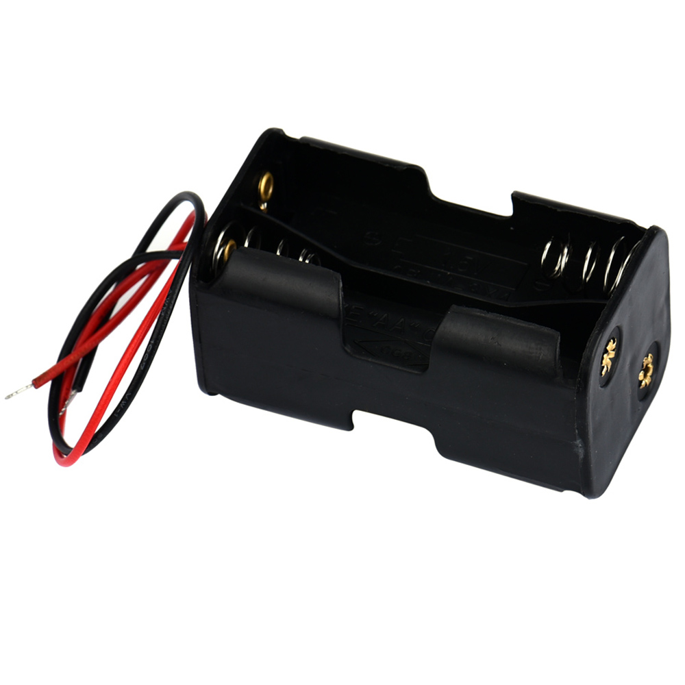 все цены на Black Practical 2-slot 4 x AA Battery Back To Back Holder Case Box With Wire Leads онлайн