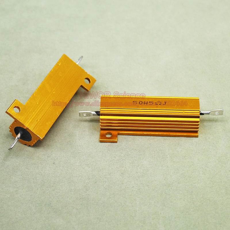 (2pcs/lot) RX24 5 Ohm 5R 50W 50Watts Aluminium Housed High Power Resistor Metal Shell Heatsink Resistor 5ohm Resistance