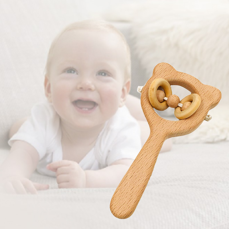 Baby Beech Wooden Rattle Teethers Montessori Toys Wooden Baby Rattle Teether YJS Dropship in Baby Teethers from Mother Kids