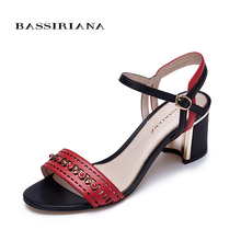 New model Summer 2017 Women sandals Genuine Leather Casual Ankle Strap Square heel Fashion shoes woman Free shipping BASSIRIANA