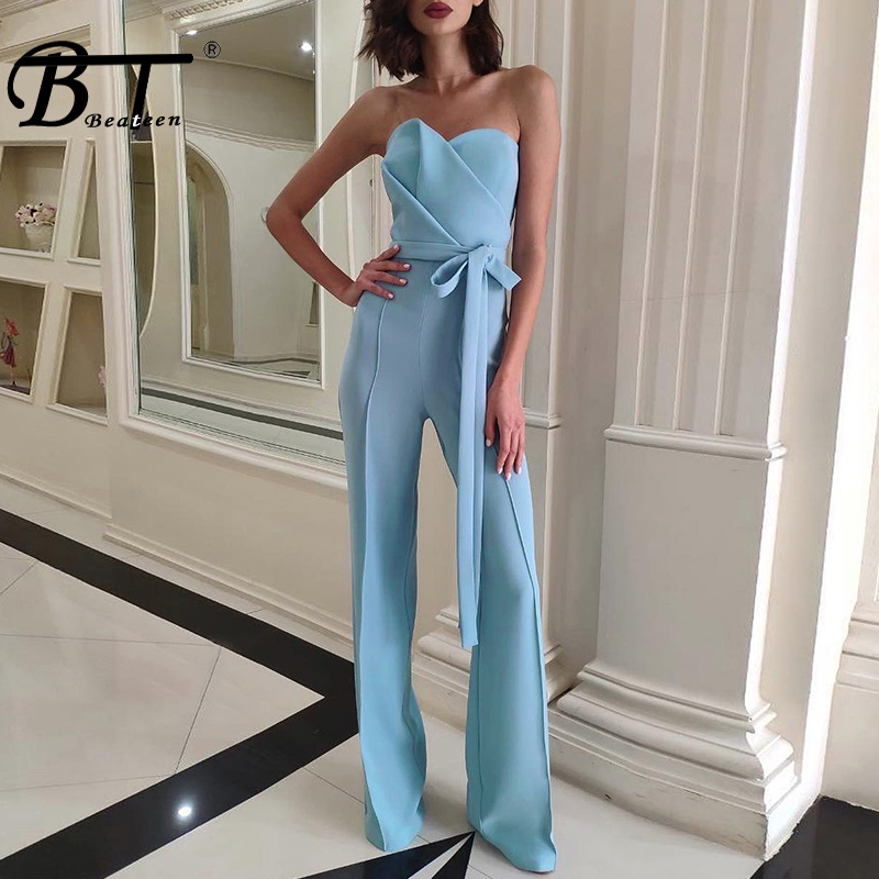 Beateen 2019 New Fashion Sexy Women Sweetheart Neckline Strapless Sleeveless Flares Full Length Party Club   Jumpsuit   With Sashes
