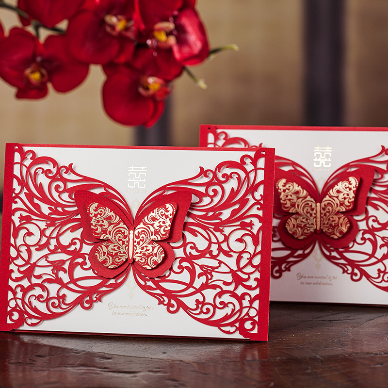 tarjetas de invitacin de corte por lser rojo chino d mariposa diseo de boda