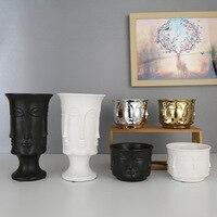 Nórdico Facetada rosto Fosco Prata fosco Ouro Criativo vaso de flores vaso de flores de Cerâmica decoração