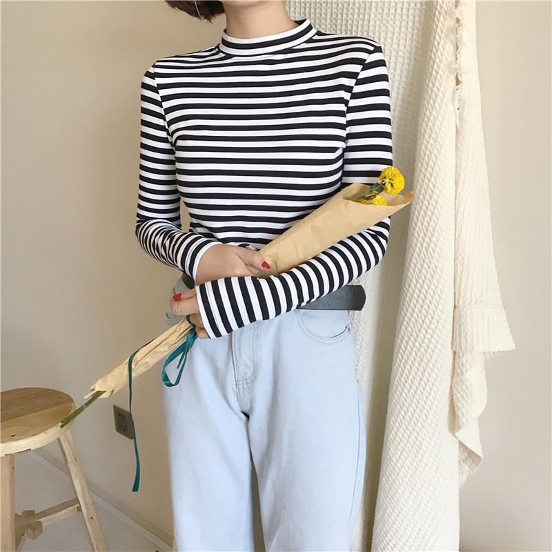 19 Korean Style Long Sleeve T Shirts Women New Hot Sale Student T-shirt Womens Fashion Harajuku Striped Female Slim Femme Lady 10