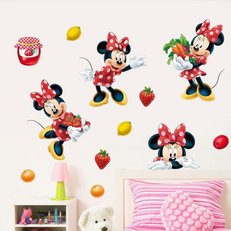 Lovely and Minnie Mouse Mouse Stickers on the Wall Vinyl Stickers Childrens Room Decor Border Tiles For Bathrooms