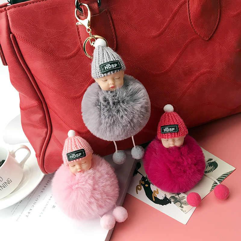 Nova Dormir Baby Doll Mulheres Chaveiro Bola de Pêlo de Coelho Pompom Pom Pom Chaveiro Carro Chaveiro Titular Bag Charme Pendant porte Clef