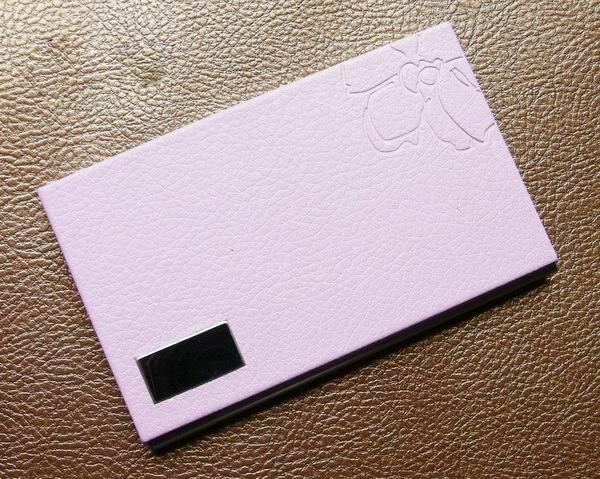 10 шт./партия,, нержавеющая сталь+ искусственная кожа, бедж, держатель для удостоверения личности, визитница, oem-изделия с логотипом заказчика NMS012 - Цвет: pink