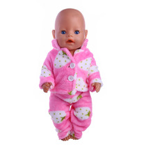 Doll accessories Two plush pajamas coat pants fit 43cm Baby Born zapf Children best Birthday Gift