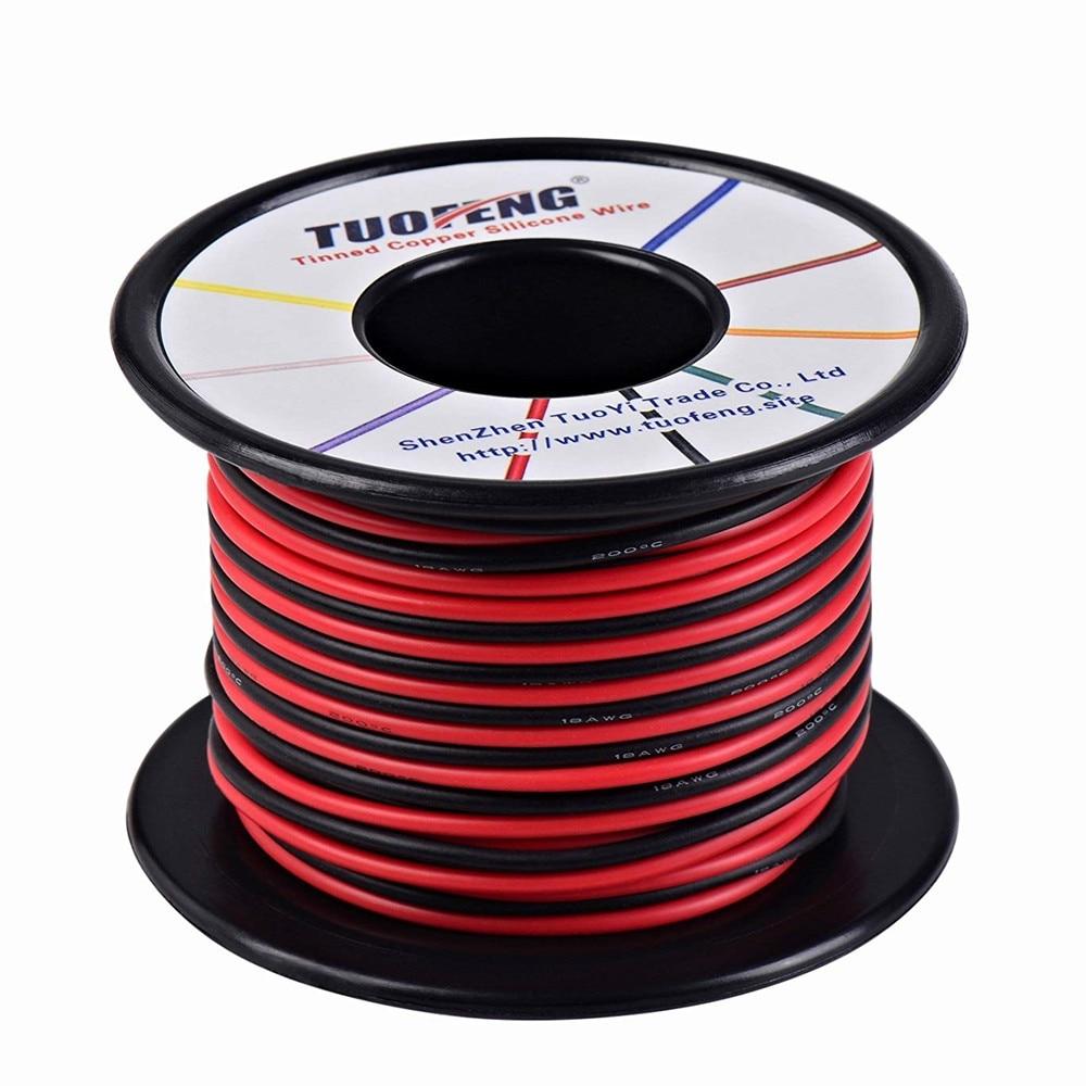 16 awg Fio, 66 pés de um fio de cobre de Alta resistência à temperatura do fio de silicone Macio 2 separados fios 33 ft ft Preto e 33 vermelho