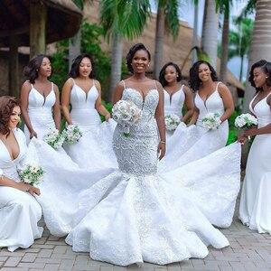 Image 2 - Robe de mariée sirène africaine de luxe, Robe de mariée en dentelle pour filles noires, faite à la main, robes de grande taille