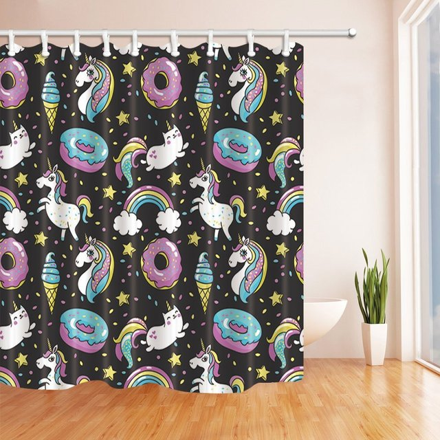 Comic Confetti Festival Decor Cartoon Unicorns With Donuts For Kids Shower Curtains Polyester Fabric Waterproof