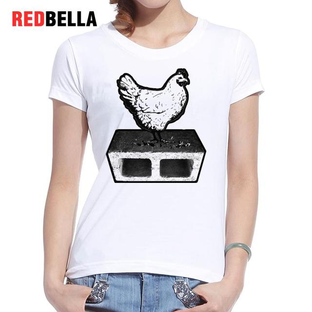 REDBELLA Parody Tee Shirt Femme Design Cock Fighting Animal Cool Sketch T- shirt Women Printing Solid Color O Neck Clothing Tops