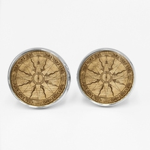 LETS SLIM Classic Vintage Compass Pattern Time Glass Gem Cufflinks Fashion Mens Shirt Buttons Private Custom